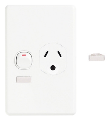Clipsal SINGLE SWITCHED SOCKET 10A 3-Pin Round Earth, Circuit Id, Vertical BLACK
