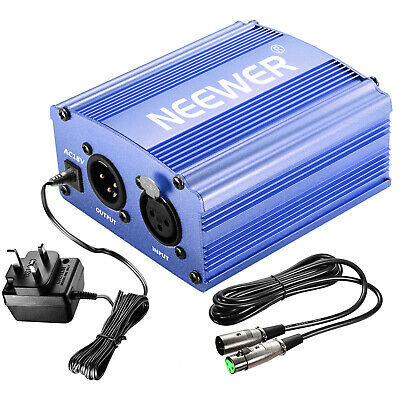 Neewer 1- Channel 48V Phantom Power Supply Bule with Adapter and XLR Audio Cable