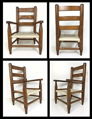 Vintage Child's Chair w Woven Rope Seat Ladder Back Oak Wood farmhouse