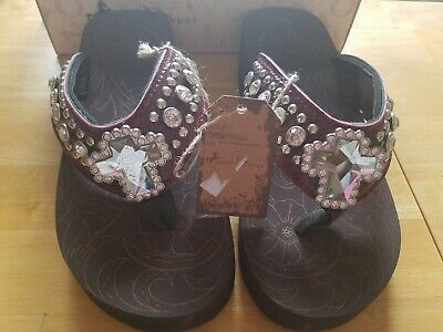 712a2760f1 Montana West Women Flip Flops Wedged Bling Sandals Crystal Cross Concho  maroon 9