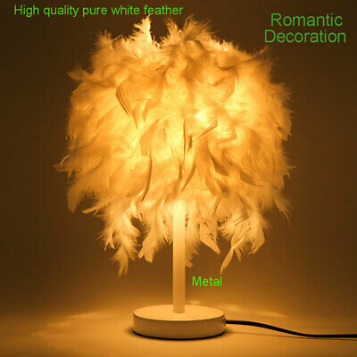 White Feather Table Lamp Desk Bedside Night Light Lampshade Living Room Bedroom