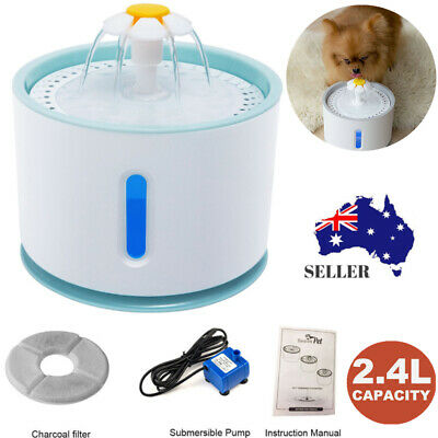2.4L LED USB Automatic Water Fountain Pet Cat Dog Drinking Feeder Dispenser AU