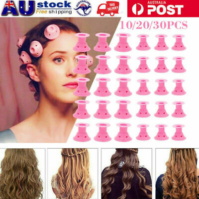 30PCS DIY Magic Hair Curler Silicone Curlers Formers No Clip Heat Styling AU