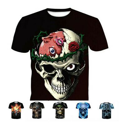 Fashion Men's Funny Skull 3D Print T-Shirts Casual Short Sleeve Tops Tee S-4XL