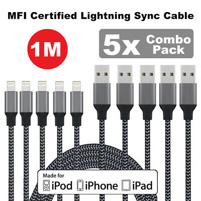 5x MFI Certified Lightning Sync Cable Charger iPhone 5s 6 6s 7 Plus 8 X XS 1M
