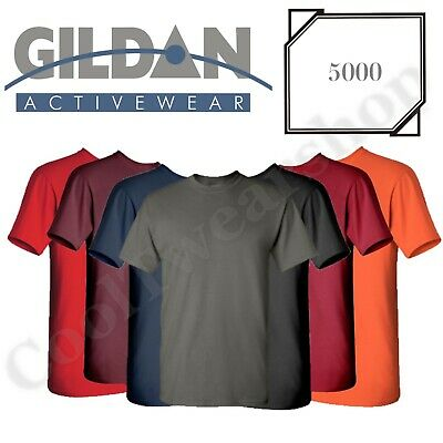 NEW Gildan Men's Heavy Cotton Plain Crew Neck Short Sleeves T-Shirt 5000 S~2XL