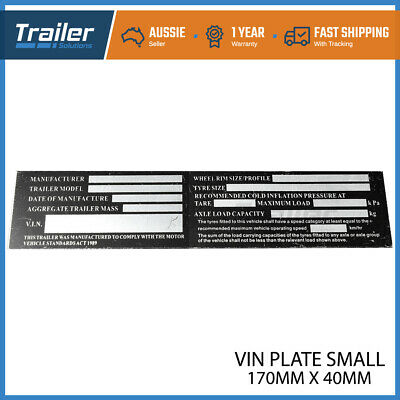 Trailer VIN Number Plate Compliance ID Tag Horse Float Caravan Boat Small Alumin