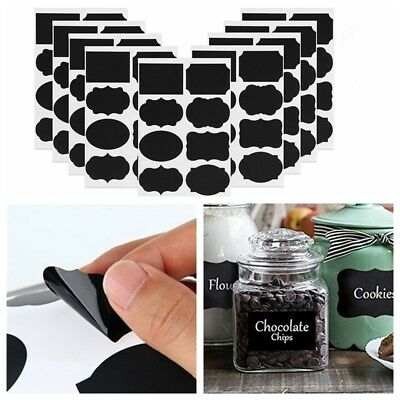 72x Herb and Spice Jar Chalkboard Style Labels Vinyl Stickers Black 35mm