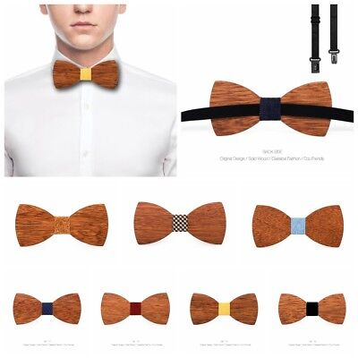62c08fa7123b 3D Men Fashion Handmade Wooden Bow Tie Gifts Wedding Wood Tuxed Bowtie  Necktie