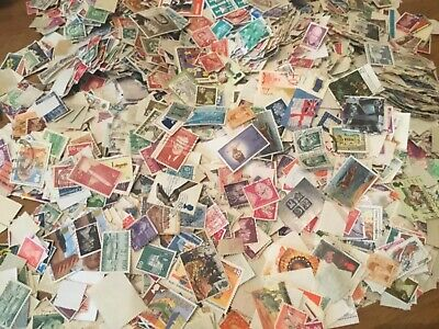 250 WORLD STAMPS OFF PAPER UNCHECKED FOR SORTING vintage modern