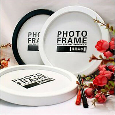 "Modern Round Photo Frame Wooden Hanging Picture Holder Bedroom Decoration 5""-12"""