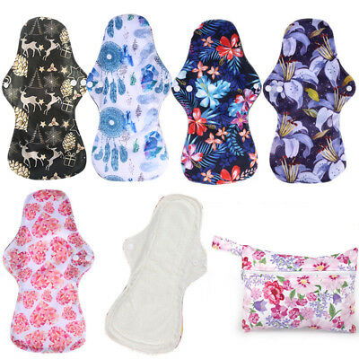 6 Pcs Reusable Organic Bamboo Heavy Flow Menstrual Cloth Sanitary Pads Sets