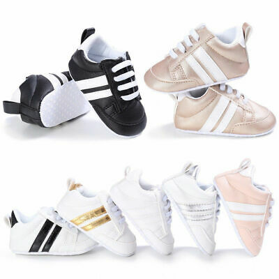 Infant Newborn Baby Boy Girl Pre-Walker Soft Sole White Pram Shoes Trainers Size