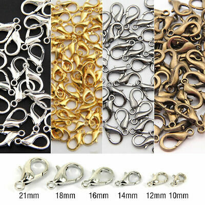 20/100Pcs Silver/Gold/Bronze Lobster Claw Clasps Hooks Finding DIY 10/12/14mm Yc