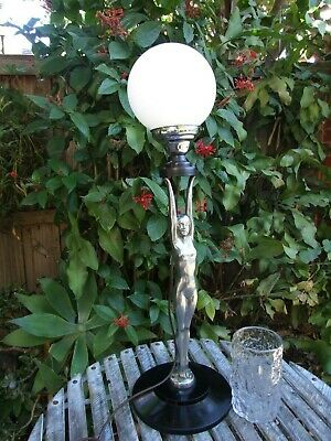 "Antique  Huge 34""Art Deco Alum Diana Nude Lady Lamp Glass Shade Vintage 1930's"