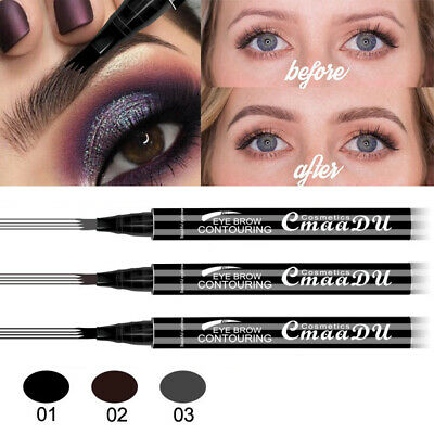 CmaaDu Microblading Tattoo Eyebrow liquid Ink Pen Waterproof 4 fork pencil brow