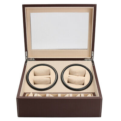 4+6 Luxury Watch Winder Piano Wood Display Case Crafted Leather Storage Gift
