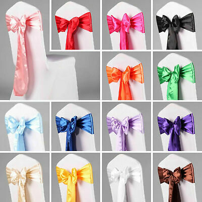 "50 pcs Satin Chair Cover Bow Sash 108/""x8/"" Wedding Party Banquet Reception"