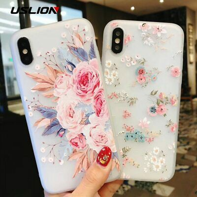 Uslion Flower Silicon Phone Case For Iphone 7 8 Plus Xs Max Xr Rose Floral Cases