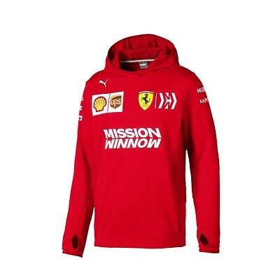 NEW 2019 FERRARI F1 Team Tech Fleece Hoodie Hooded Jumper MENS Red OFFICIAL