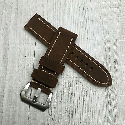 For Panerai PAM 24mm Handmade Thick Brown Leather Watch Strap Band Pre-v Buckle