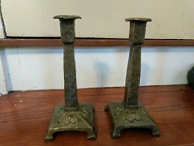 Pair 1911 Hammered Moulded Bronze Arts Crafts Candlesticks Buchholtz Hoboken NJ