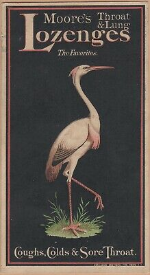 Victorian Trade Card-Moore's Cough Lozenges-Pilules-Patent Medicine-Stork
