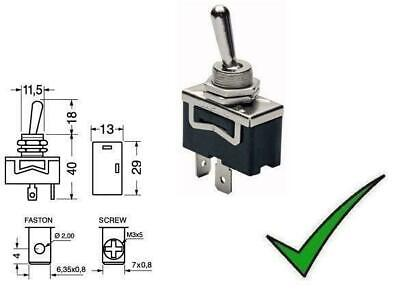 Interruttore a leva levetta unipolare ON-OFF faston 6,3mm 250V 10A - 125V 15A