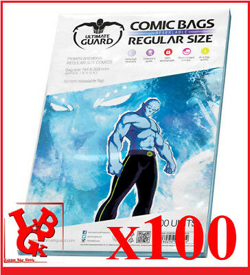 Pochettes Protection REGULAR Size REFERMABLES comics VO x 100 Marvel Bags #NEUF#