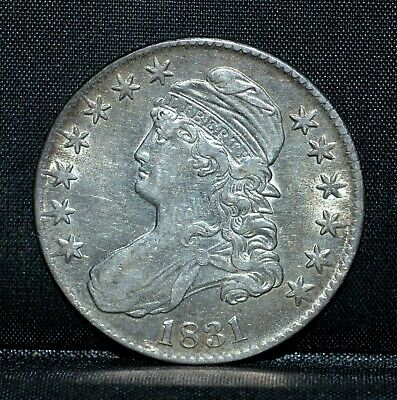 1831 Capped Bust Half Dollar ✪ Au Almost Unc Details ✪ 50C Silver ◢Trusted◣