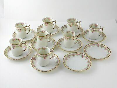 Antique Limoges Elite Works France 8 Cups 10 Saucers Floral Pink Rose Gold Trim
