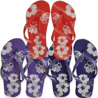 Girls Kids Floral Flip Flops Sandals Pool Beach Shoes Sizes UK 10 to 2 Flower