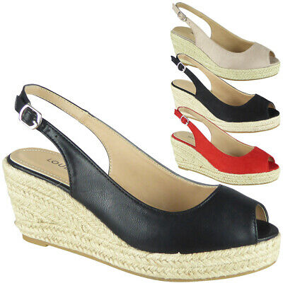 Womens Ladies Espadrilles Platform Peeptoe Slingback Shoes Wedge Sandals Size