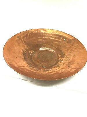 Lg Hammered Copper Textured Low Flat Bowl Antique MCM Mid Century Modern Serving