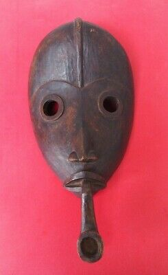 Really Unusual Large Heavy West African Tribal Art Dan Tribe Mask W Smoking Pipe