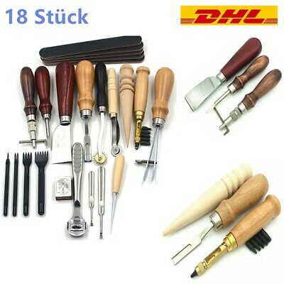 18 Pcs Leder Werkzeug Leather Craft Hand Sewing Stitching Groover Tool Kits DHL