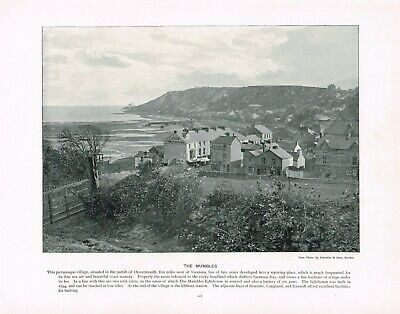 Mumbles Swansea Bay Wales Antique Old Picture Print c1896 PEAW#117