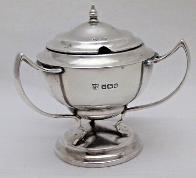 Antique Sterling Solid Silver Novelty 3 Handled Mustard Pot 1913 (1041-C-KNY)