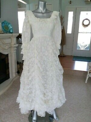 Vintage Beautiful 1950's 60's Wedding Dress Drape Ruched White Lace Gown