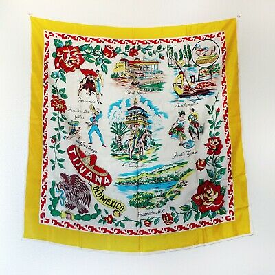 Vintage Tijuana Mexican Travel Souvenir Scarf Wall Hanging Silky Tapestry