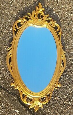 Vintage Hollywood Regency Gold Rococo Wood Syroco Florentine Ornate Wall Mirror