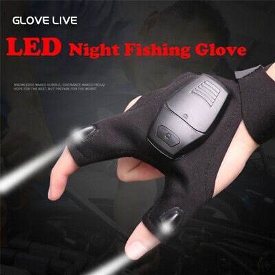 Outdoor Fishing Magic Strap Fingerless Glove LED Flashlight Torch Cover