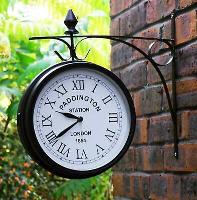 NEW Large Black Steel Vintage Outdoor Garden Station Double Side Wall Clock