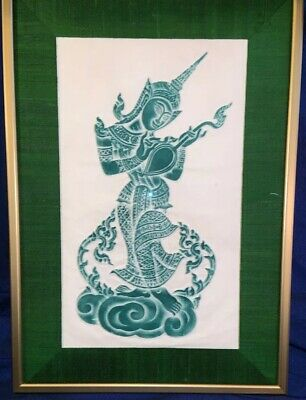 Vintage Thai Temple Rubbing Rice Paper Framed In Gorgeous Green Silk