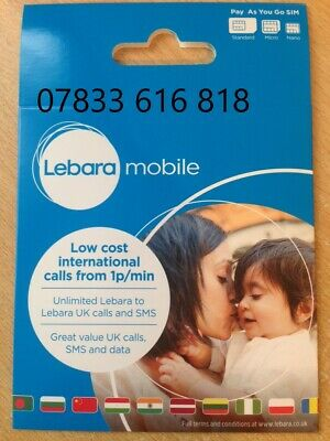 VIP GOLD Lebara Triple (07x33 616 818) SIM CARD Free £10 off online