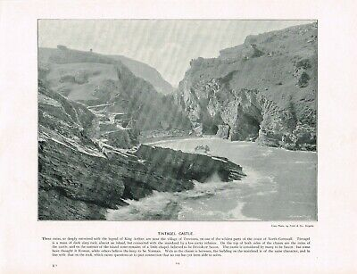 Tintagel Castle Cornwall Antique Old Picture Print c1896 PEAW#129