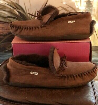 c20ac29100e78 LL BEAN MEN'S Blue Knit/Brown Leather Moccasin Boot Slippers - Size ...
