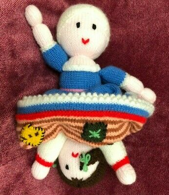 Hand Made knitted Topsy Turvey Doll Cinderella & Cinders 30cm high