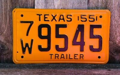 1955 Vintage antique Texas trailer license plate. NOS 7W99545 (unrestored)