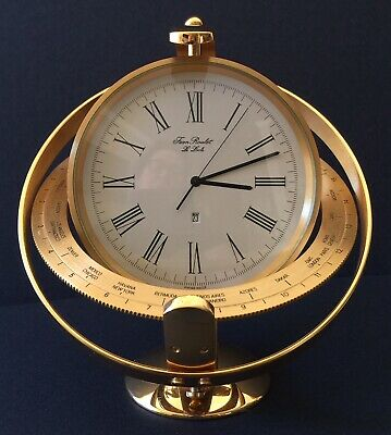 VTG Swiss JEAN ROULET LE LOCLE Gold International World Time Zone Desk CLOCK 604